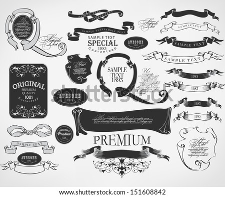 vintage calligraphic design elements and page decoration/ vector set - stock vector