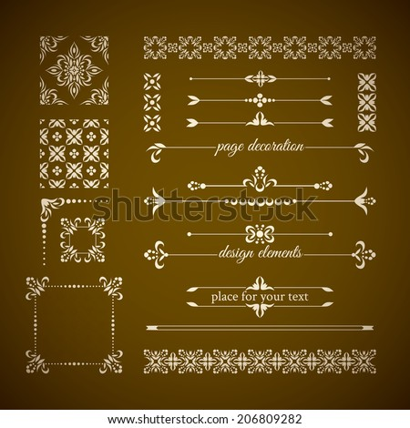 Vintage calligraphic design elements: page decoration, frames and seamless patterns - stock vector