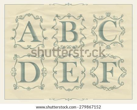 Vintage calligraphic letters in monogram retro frames, alphabet logos set - A, B, C, D, E, F - stock vector