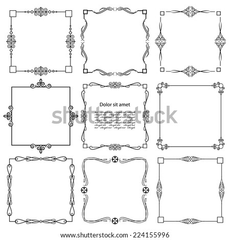 Vintage calligraphic square frame set isolated on white. - stock vector