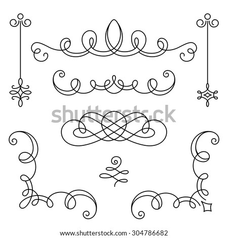 Vintage calligraphic vignettes, corners and dividers, set of decorative design elements in retro style, vector scroll embellishment on white - stock vector