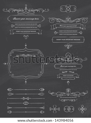 Vintage Calligraphy Chalkboard Design Elements Two - stock vector