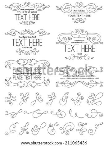 Vintage Calligraphy Flower Design Elements - stock vector