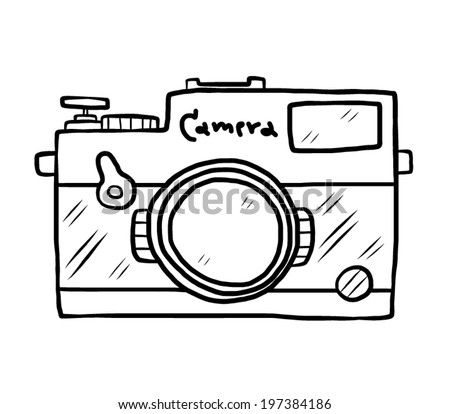 vintage camera / cartoon vector and illustration, black and white, hand drawn, sketch style, isolated on white background.