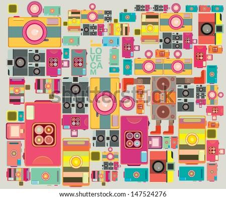 VIntage camera pattern wallpaper design  - stock vector