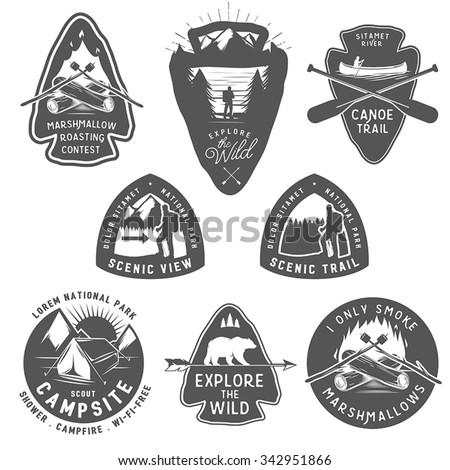 Vintage camping and hiking labels, badges, design elements  - stock vector