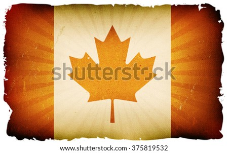 Vintage Canada Flag Poster Background/ Illustration of the canadian flag poster, with red maple leaf, retro and vintage design, grunge textures for canada day holidays - stock vector