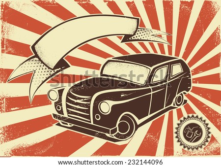 Vintage car advertisement poster. Vector template - stock vector