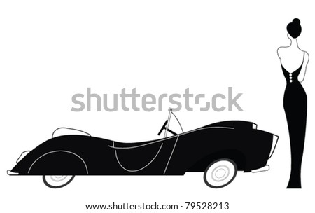Vintage car and stylish lady isolated on white background - stock vector