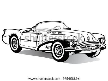 Vintage car cabriolet roofless, sketch, coloring book, black and white drawing, monochrome. Retro cartoon transport. Vector isolated illustration