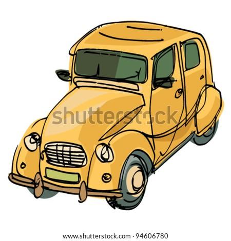 vintage car  - cartoon - stock vector