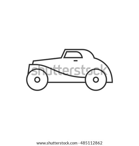 Vintage car icon in thin outline style. Retro automotive toy