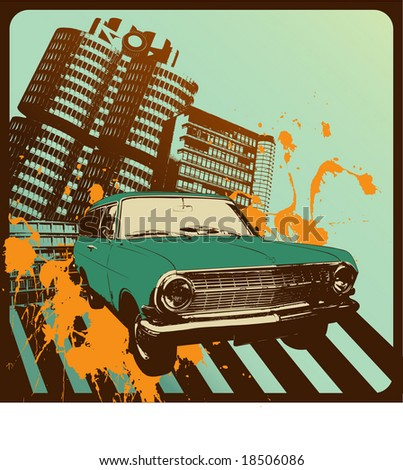 vintage car in front of an grungy urban background - stock vector