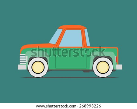 Vintage  car. Isolated on green - stock vector