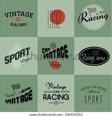Vintage car racing badges - stock vector
