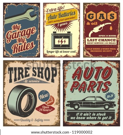 Vintage car service metal signs and posters vector - stock vector