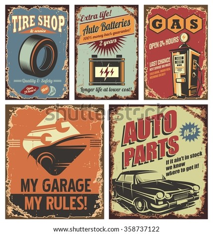 Vintage car service tin signs and posters on old rusty background. Retro  car service flyer collection. Ads and banners old-fashioned road station or garage set. - stock vector