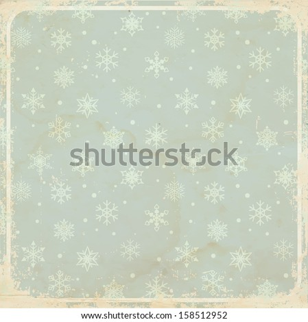 Vintage card background with snowflakes (layer with snowflakes is seamless). - stock vector