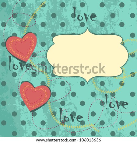 Vintage card design with decorative harts - stock vector