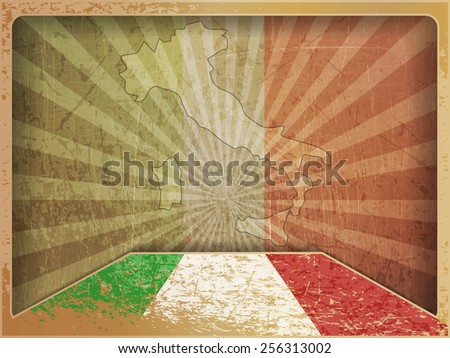 Vintage card: map and flag of Italy - stock vector