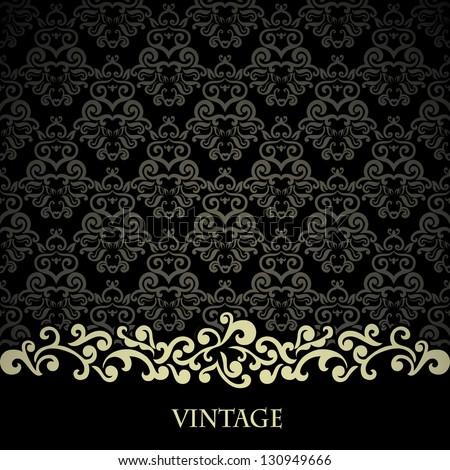 Vintage card  on black damask wallpaper - stock vector