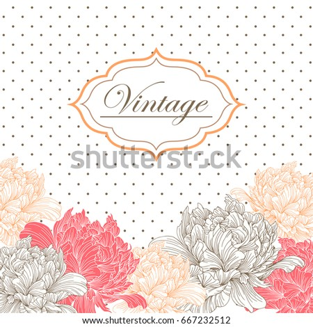 Vintage card invitation abstract peonies floral stock vector vintage card or invitation with abstract peonies floral background template for design wedding invitation stopboris Choice Image