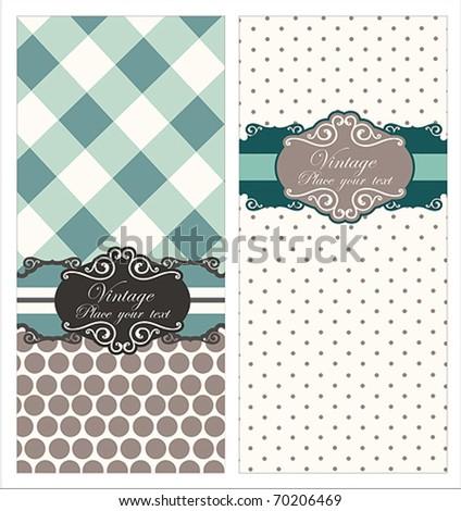 Vintage Card set or package design - stock vector