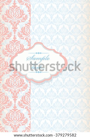 Vintage card Vector Baroque ornament pattern. Design for wallpapers, textures or invitation card. Purple and gold color - stock vector