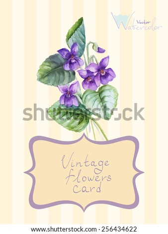 Vintage card with a floral bouquet of violet. Vector watercolor illustration - stock vector
