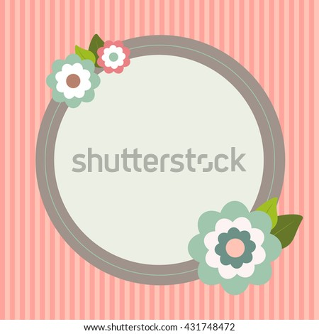 Vintage Card With Abstract Flowers And Stripes