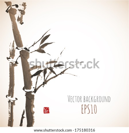 Vintage card with bamboo in sumi-e style. Hand-drawn with ink. Vector illustration. Traditional Japanese painting - stock vector