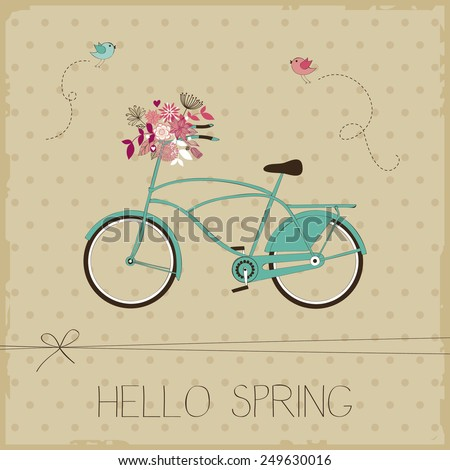 Vintage card with bicycle - stock vector