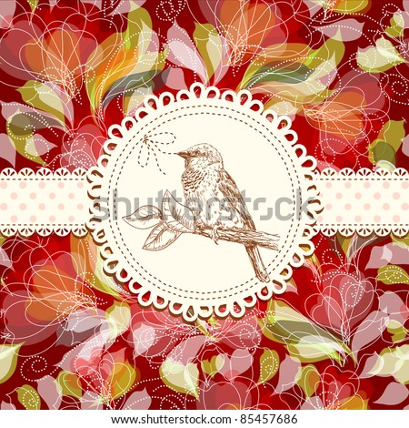 vintage card with bird - stock vector