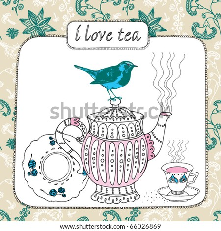 vintage card with bird and teapot
