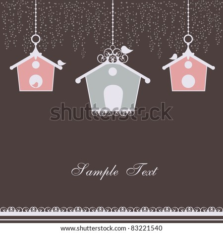 vintage card with birdhouses - stock vector