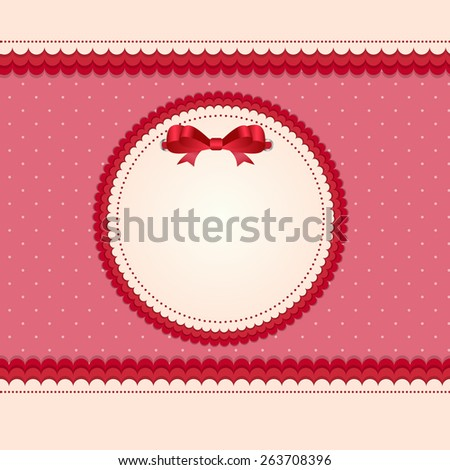 Vintage Card with Bow Vector Illustration. EPS10  - stock vector