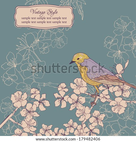 vintage card with cherry blossoms and bird, vector illustration - stock vector