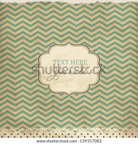 Vintage card with chevron background and frame - stock vector