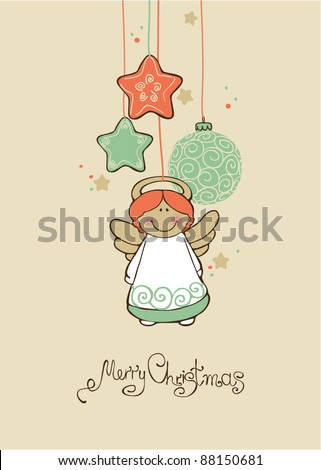 Vintage card with Christmas balls - stock vector