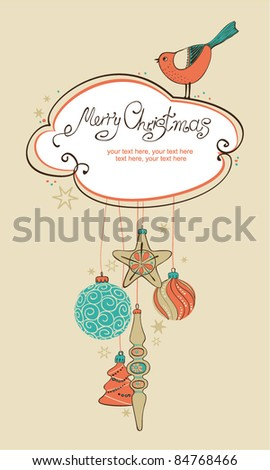Vintage card with Christmas balls and bird - stock vector