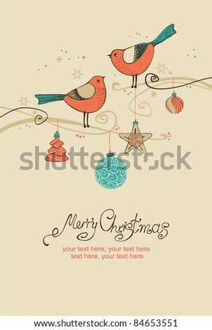 Vintage card with Christmas balls and birds - stock vector