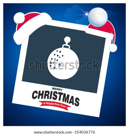 Vintage card with Christmas balls. vector illustration. photo frame with Santa Claus Hat and creative typography in footer on glowing Vector background - stock vector
