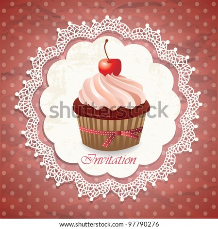 Vintage card with cupcake 010 - stock vector
