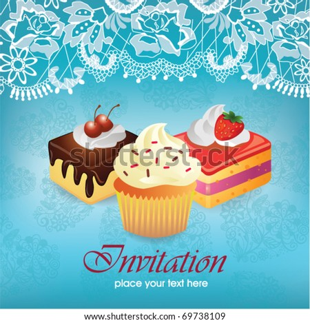 Vintage card with cupcake & cake - stock vector