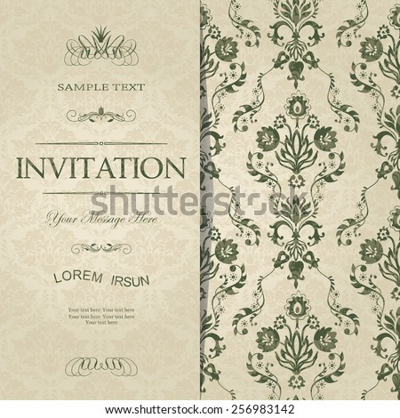 vintage card with damask background and elegant floral elements - stock vector