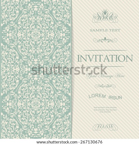 vintage card with damask background and elegant floral elements