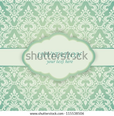Vintage card with damask pattern - stock vector