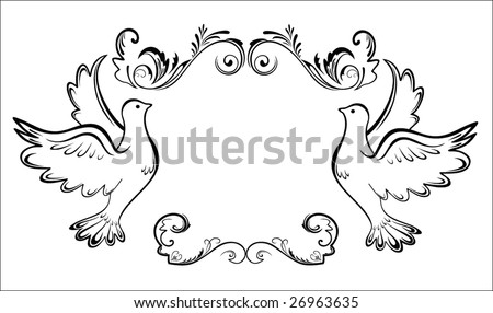 Vintage card with dove - stock vector