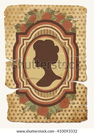 Vintage card with female silhouette, vector illustration