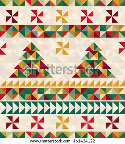 Vintage card with geometric pattern Christmas tree - stock vector